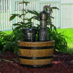 Old Fashioned Water Pump with Barrel Solar-on-Demand Fountain