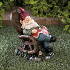 Solar Red Bird Rocking Chair Gnome