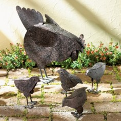 Hen With Chicks Sculpture