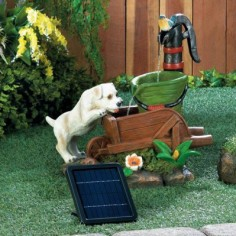 Solar Puppy Dog Fountain